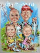 семейный шарж рыбалка