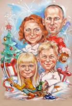 шарж новогодний подаро