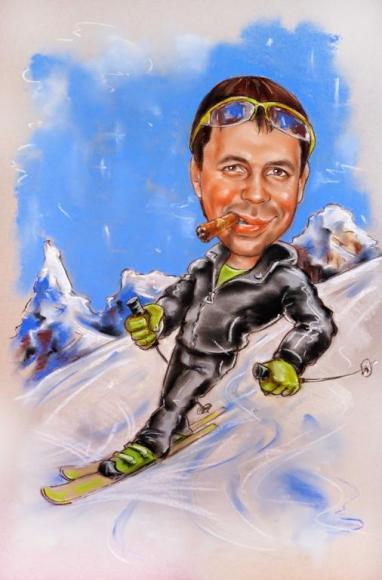 шарж лыжник