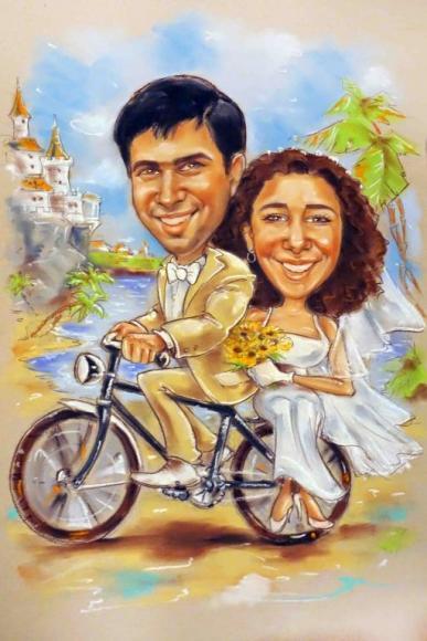 шарж на велосипеде