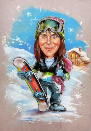 шарж сноуборд