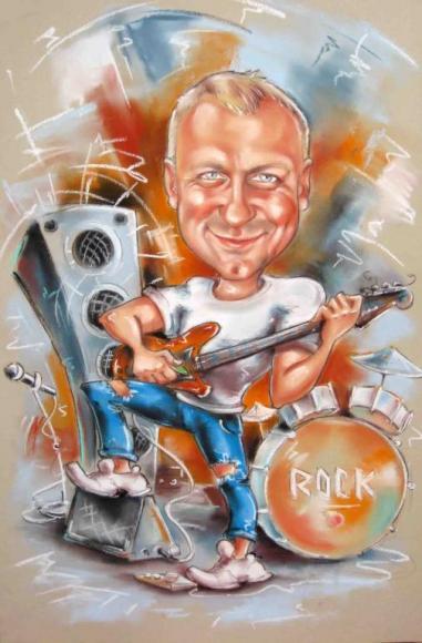 шарж рок гитарист